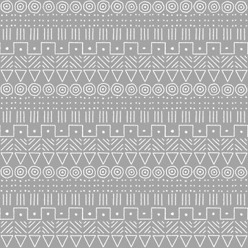 Mudcloth Style 1 in White on Gray by MelFischer