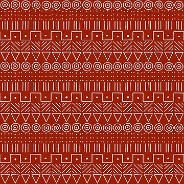 Mudcloth Style 1 in White on Red by MelFischer