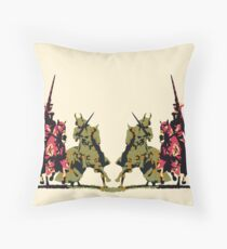 four noble knights on horseback with lance and sword Throw Pillow