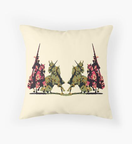 four noble knights on horseback with lance and sword Floor Pillow