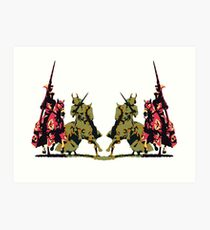 four noble knights on horseback with lance and sword Art Print