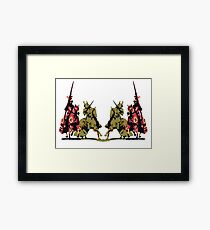 four noble knights on horseback with lance and sword Framed Print