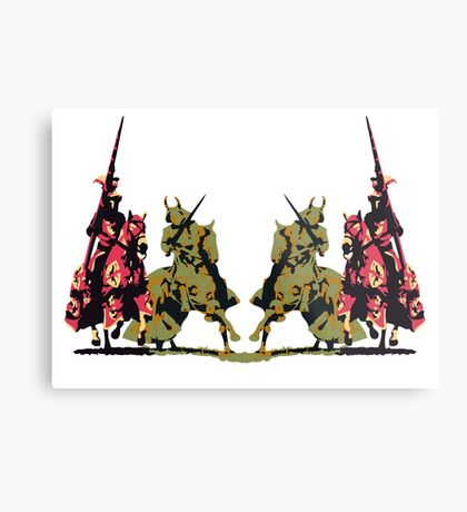 four noble knights on horseback with lance and sword Metal Print