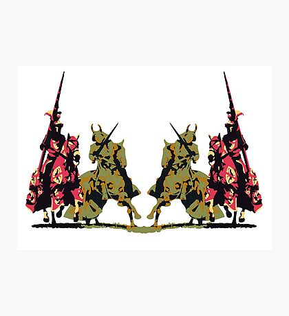 four noble knights on horseback with lance and sword Photographic Print