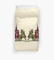 four noble knights on horseback with lance and sword Duvet Cover
