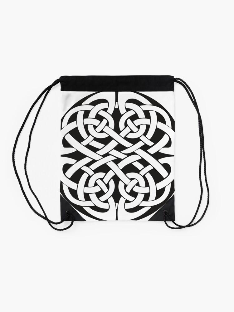 Alternate view of Round Celtic Knot Drawstring Bag