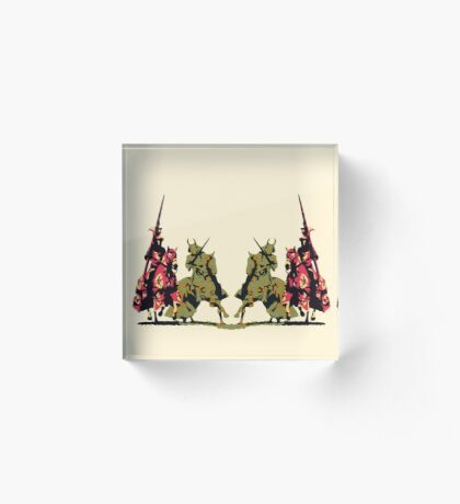 four noble knights on horseback with lance and sword Acrylic Block