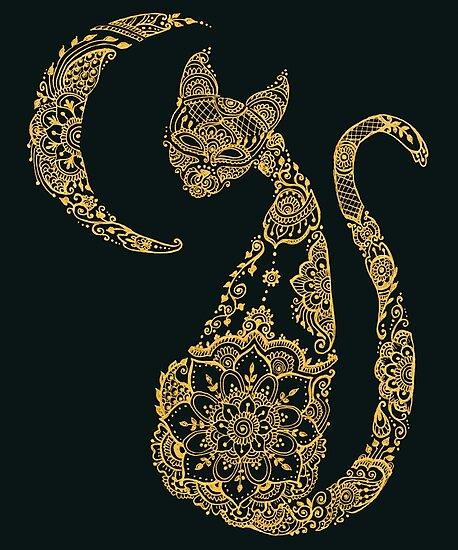 «Gato y luna - Oro» de Maria  Singh