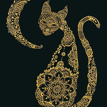 Cat and Moon - Gold by MariaMahar
