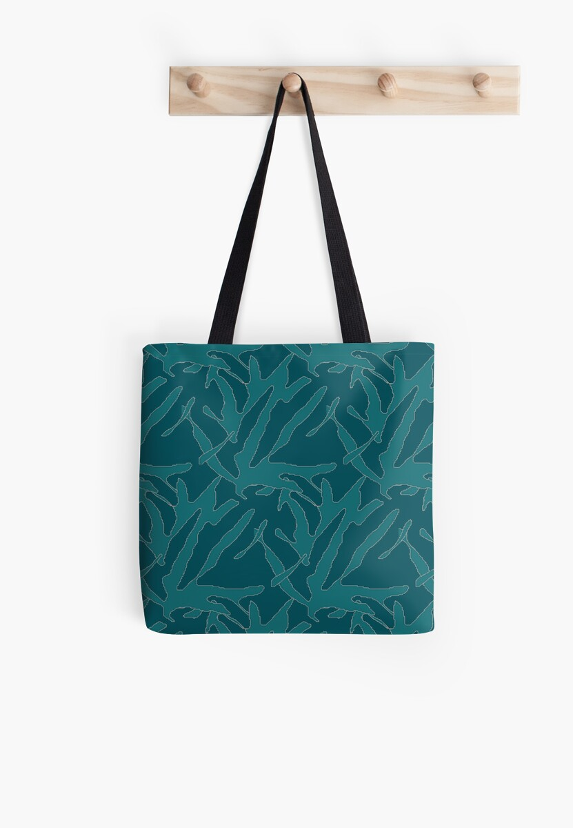 Silhouette Plant, Teal by crystaltextiles