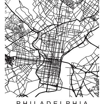 Philadelphia PA Philly Minimalist City Street Map Dark Design by Andrewkgolf