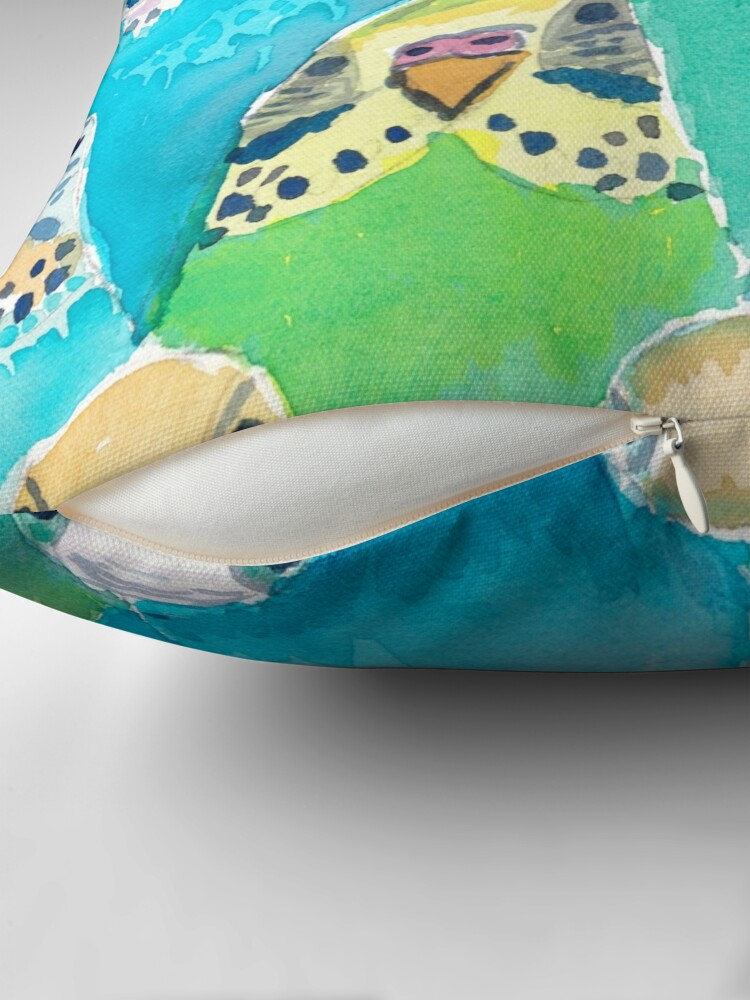 Alternate view of Watercolour Budgies Throw Pillow