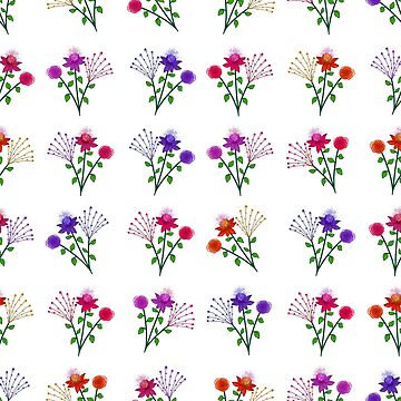 Floral Bouquet Repeat Print 001 on cream by ColourPortal101