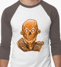 Zombie Skull Head Orange Men's Baseball ¾ T-Shirt