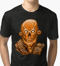 Zombie Skull Head Orange Tri-blend T-Shirt