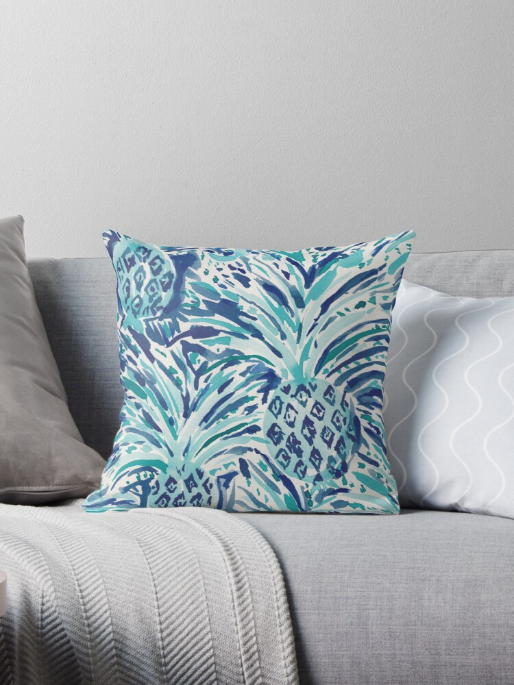 PINEAPPLE WAVE Blue Painterly Watercolor by Barbarian
