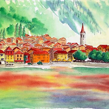 Watercolour of Lake Como 3 by WaterGardens
