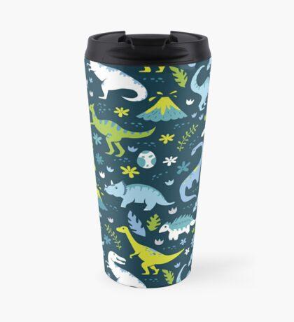 Kawaii Dinosaurs in Blue + Green Travel Mug
