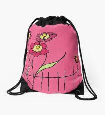 Flower behind the fence Drawstring Bag