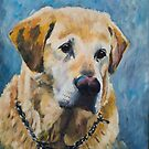 Yellow Labrador portrait by Yulia Kazansky