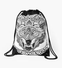 Wolf Head Drawstring Bag
