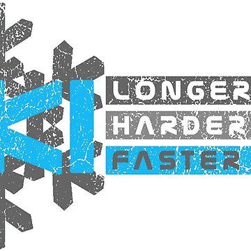 Ski Longer Harder Faster - Blue 1 | Ski Designs | DopeyArt by DopeyArt