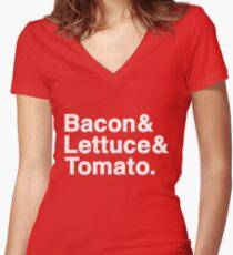 Bacon & Lettuce & Tomato (dark shirts) Women's Fitted V-Neck T-Shirt