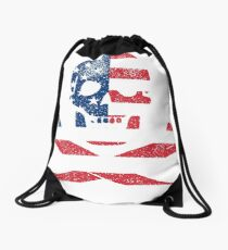 Skull and Crossbones USA Drawstring Bag