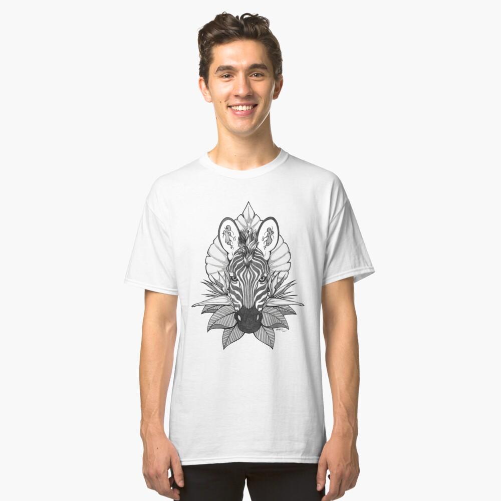 Zebra & Dschungel Blätter Classic T-Shirt