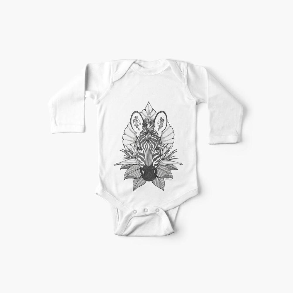 Zebra & Jungle Leaves Baby One-Piece
