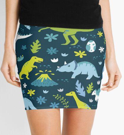 Kawaii Dinosaurs in Blue + Green Mini Skirt