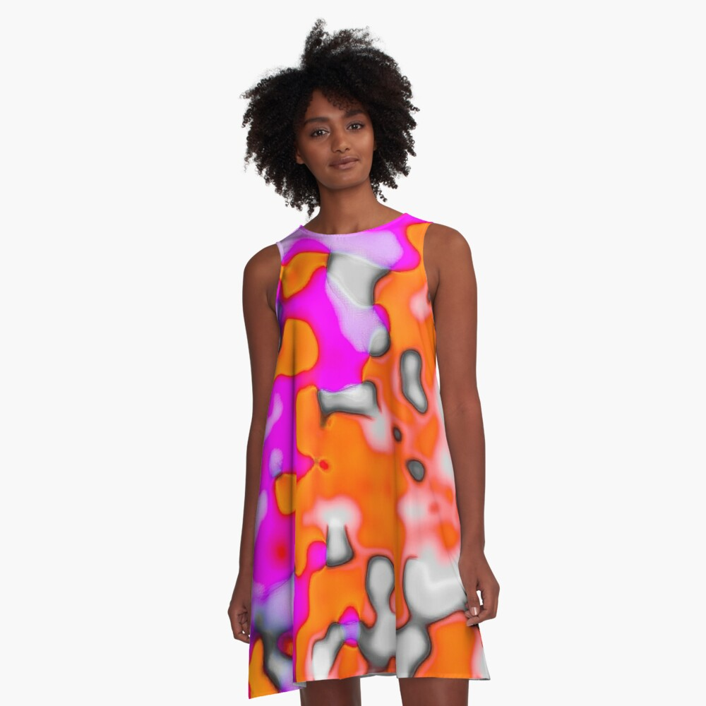 Pila Fashion Design - Abstract Pink & Orange A-Line Dress Front