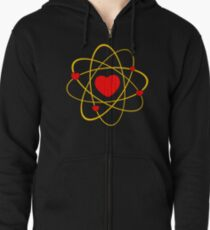 Atoms heart love positive energy Zipped Hoodie