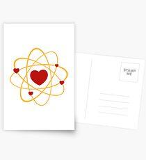 Atoms heart love positive energy Postcards