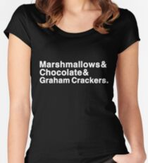 Marshmallows & Chocolate & Graham Crackers (white letters) Women's Fitted Scoop T-Shirt