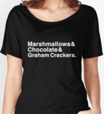 Marshmallows & Chocolate & Graham Crackers (white letters) Women's Relaxed Fit T-Shirt