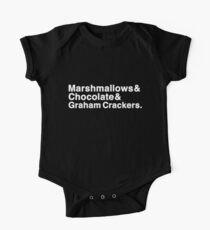 Marshmallows & Chocolate & Graham Crackers (white letters) One Piece - Short Sleeve