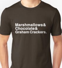 Marshmallows & Chocolate & Graham Crackers (white letters) Unisex T-Shirt