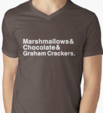 Marshmallows & Chocolate & Graham Crackers (white letters) Men's V-Neck T-Shirt