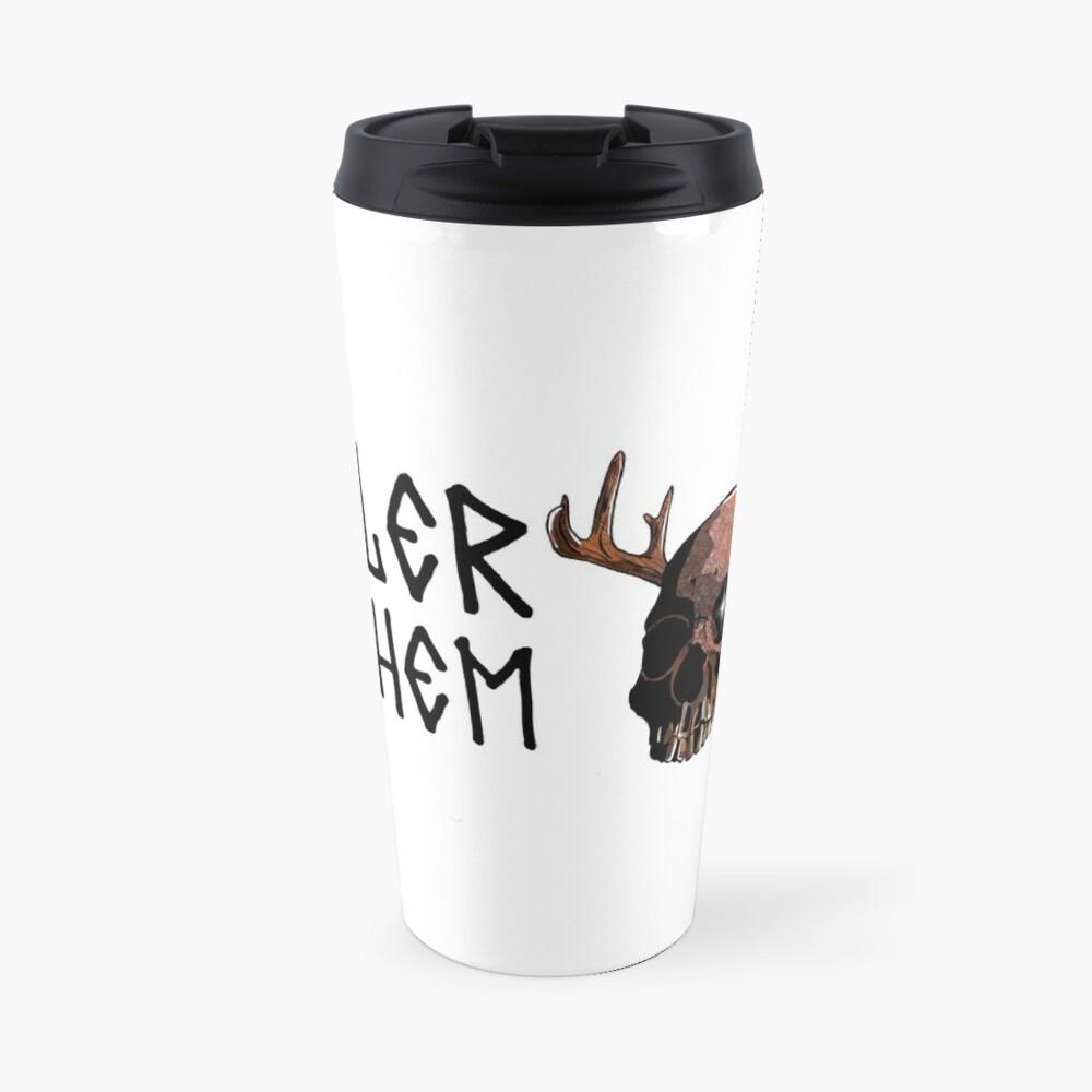 Antler Mayhem Humanoid Skull Travel Mug