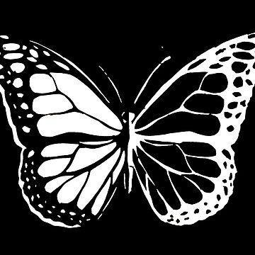 Mariposa monarca - negro y blanco de maryhop