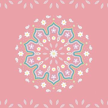 Rose & Blue Mandala Design by cristinadesign