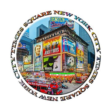 Times Square New York City Grand Badge Emblem (on white) by RayW