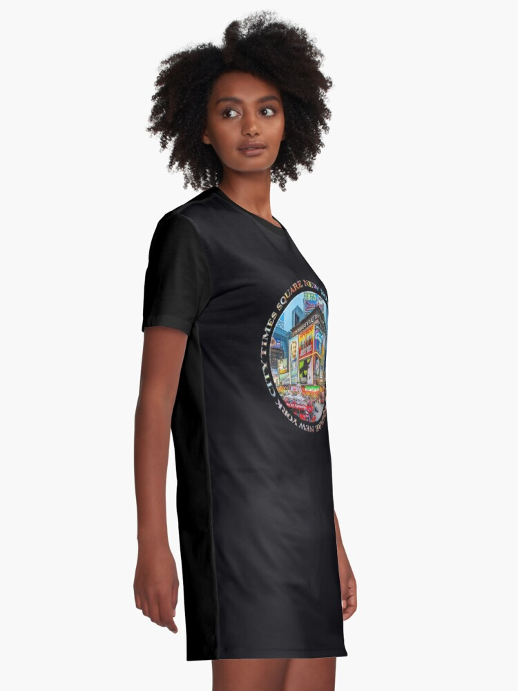Alternate view of Times Square New York City Grand Badge Emblem (on black) Graphic T-Shirt Dress