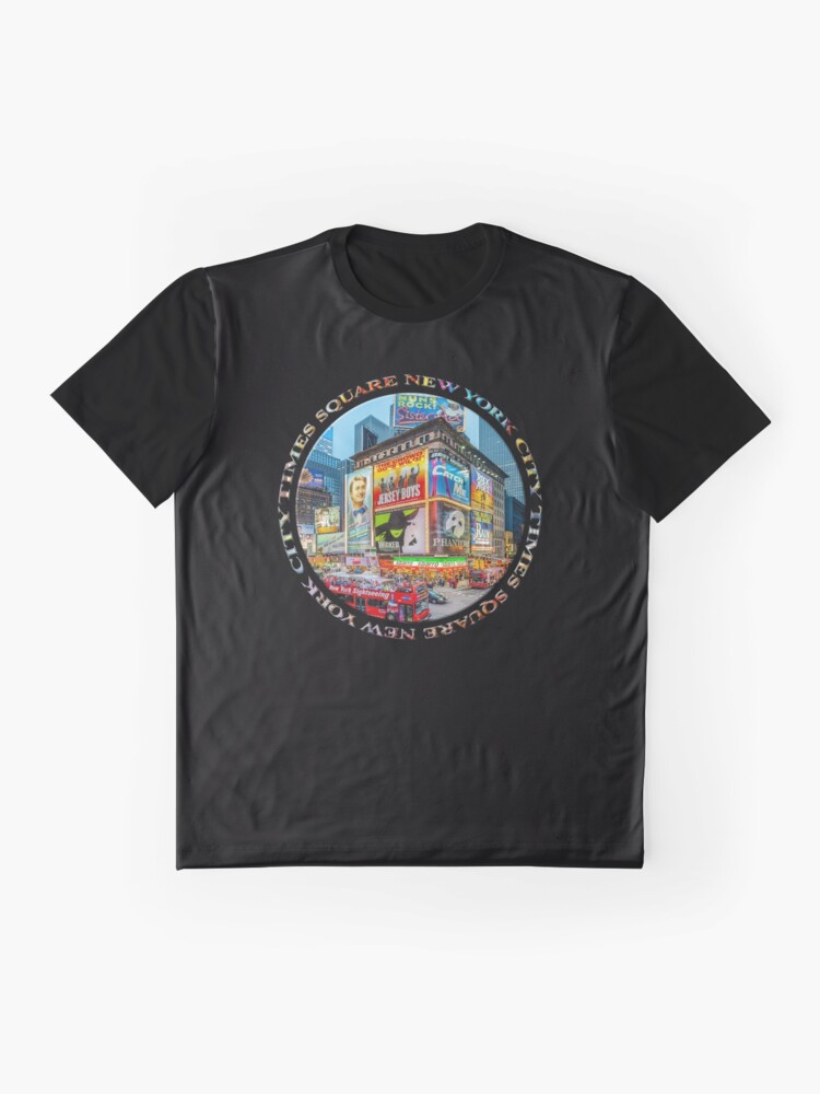 Alternate view of Times Square New York City Grand Badge Emblem (on black) Graphic T-Shirt