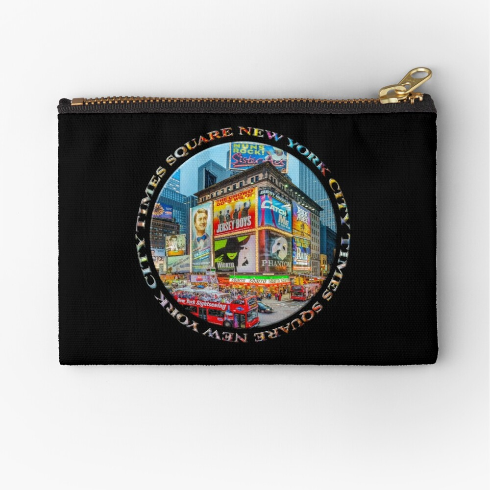 Times Square New York City Grand Badge Emblem (on black) Zipper Pouch