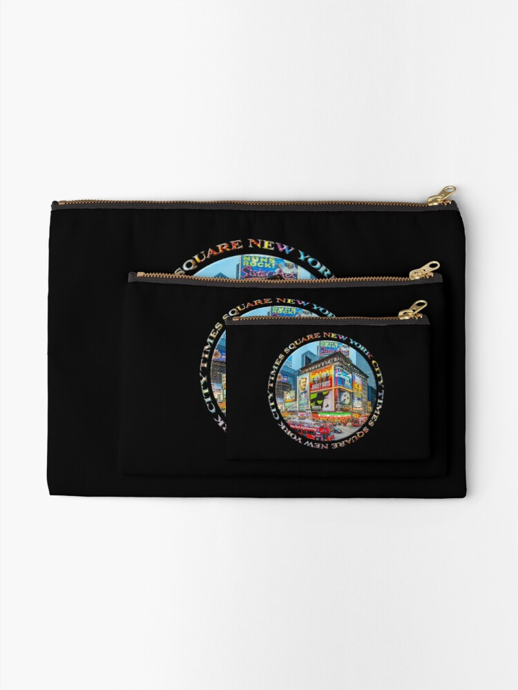 Alternate view of Times Square New York City Grand Badge Emblem (on black) Zipper Pouch