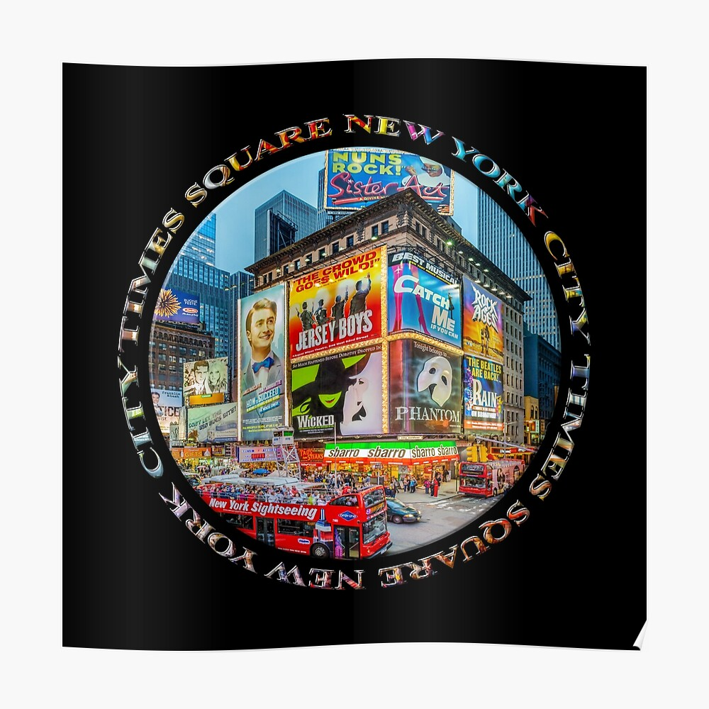 Times Square New York City Grand Badge Emblem (on black) Poster