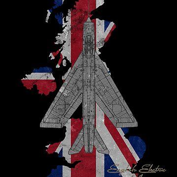 English Electric Lightning F.1 Royal Air Force RAF Jet Fighter Vintage Union Jack Flag Design by RealPilotDesign