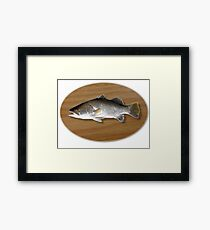 Digitally generated image of a mounted fish trophy on a wooden plaque  Framed Print